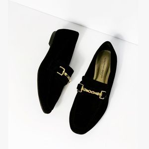 Christian Siriano Gold Chain Velvet Suede Loafers